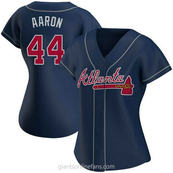 Womens Hank Aaron Atlanta Braves #44 Authentic Navy Alternate A592 Jersey