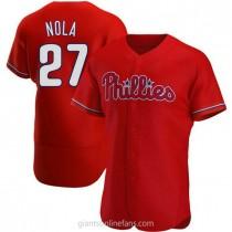 Mens Aaron Nola Philadelphia Phillies #27 Authentic Red Alternate A592 Jerseys