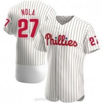 Mens Aaron Nola Philadelphia Phillies #27 Authentic White Home A592 Jersey