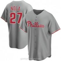 Mens Aaron Nola Philadelphia Phillies #27 Replica Gray Road A592 Jerseys