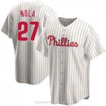 Mens Aaron Nola Philadelphia Phillies #27 Replica White Home A592 Jerseys