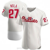Mens Aaron Nola Philadelphia Phillies Authentic White Home A592 Jersey