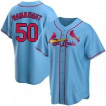 Mens Adam Wainwright St Louis Cardinals #50 Light Blue Alternate A592 Jerseys Replica