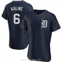 Mens Al Kaline Detroit Tigers #6 Authentic Navy Alternate A592 Jersey