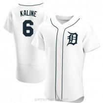 Mens Al Kaline Detroit Tigers #6 Authentic White Home A592 Jersey