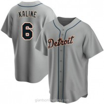Mens Al Kaline Detroit Tigers #6 Replica Gray Road A592 Jersey