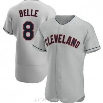 Mens Albert Belle Cleveland Indians #8 Authentic Gray Road A592 Jersey