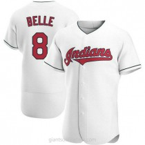 Mens Albert Belle Cleveland Indians #8 Authentic White Home A592 Jersey