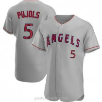 Mens Albert Pujols Los Angeles Angels Of Anaheim #5 Authentic Gray Road A592 Jersey