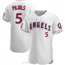 Mens Albert Pujols Los Angeles Angels Of Anaheim #5 Authentic White A592 Jerseys