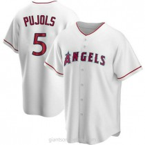 Mens Albert Pujols Los Angeles Angels Of Anaheim #5 Replica White Home A592 Jersey