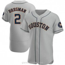 Mens Alex Bregman Houston Astros #2 Authentic Gray Road A592 Jerseys