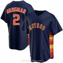 Mens Alex Bregman Houston Astros #2 Replica Navy Alternate A592 Jersey