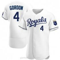Mens Alex Gordon Kansas City Royals #4 Authentic White Home A592 Jersey