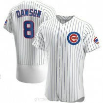 Mens Andre Dawson Chicago Cubs #8 Authentic White Home A592 Jersey