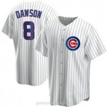 Mens Andre Dawson Chicago Cubs #8 Replica White Home A592 Jerseys
