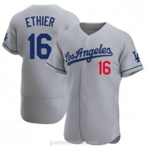 Mens Andre Ethier Los Angeles Dodgers #16 Authentic Gray Away Official A592 Jersey