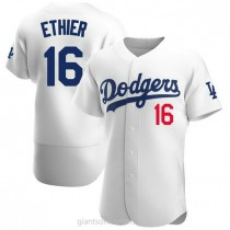 Mens Andre Ethier Los Angeles Dodgers #16 Authentic White Home Official A592 Jerseys