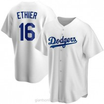Mens Andre Ethier Los Angeles Dodgers #16 Replica White Home A592 Jerseys