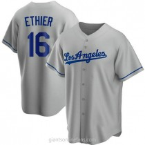 Mens Andre Ethier Los Angeles Dodgers Replica Gray Road A592 Jersey