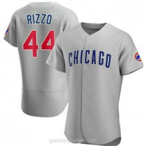 Mens Anthony Rizzo Chicago Cubs #44 Authentic Gray Road A592 Jersey