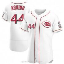 Mens Aristides Aquino Cincinnati Reds #44 Authentic White Home A592 Jerseys