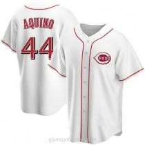 Mens Aristides Aquino Cincinnati Reds #44 Replica White Home A592 Jersey