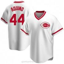Mens Aristides Aquino Cincinnati Reds #44 Replica White Home Cooperstown Collection A592 Jersey