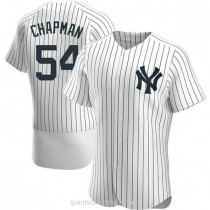 Mens Aroldis Chapman New York Yankees #54 Authentic White Home A592 Jersey