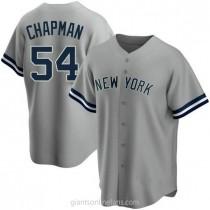 Mens Aroldis Chapman New York Yankees #54 Replica Gray Road Name A592 Jerseys