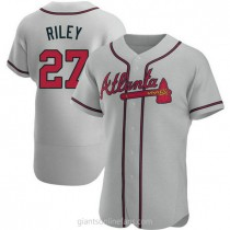 Mens Austin Riley Atlanta Braves #27 Authentic Gray Road A592 Jersey