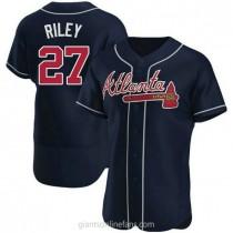 Mens Austin Riley Atlanta Braves #27 Authentic Navy Alternate A592 Jerseys