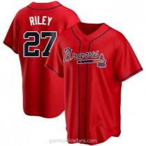 Mens Austin Riley Atlanta Braves #27 Replica Red Alternate A592 Jerseys