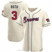 Mens Babe Ruth Atlanta Braves #3 Authentic Cream Alternate A592 Jerseys