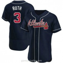 Mens Babe Ruth Atlanta Braves #3 Authentic Navy Alternate A592 Jersey
