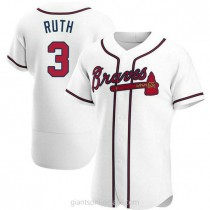 Mens Babe Ruth Atlanta Braves #3 Authentic White Home A592 Jersey