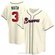 Mens Babe Ruth Atlanta Braves #3 Replica Cream Alternate A592 Jerseys