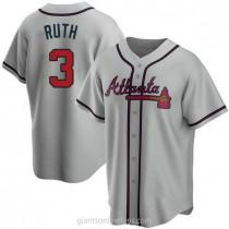 Mens Babe Ruth Atlanta Braves #3 Replica Gray Road A592 Jerseys