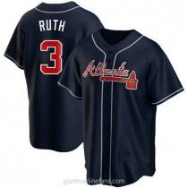 Mens Babe Ruth Atlanta Braves #3 Replica Navy Alternate A592 Jersey
