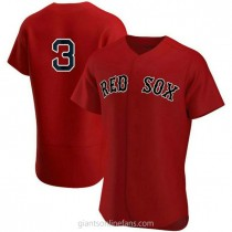 Mens Babe Ruth Babe Ruth Boston Red Sox #3 Authentic Red Alternate Team A592 Jerseys