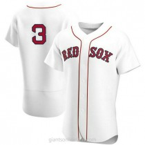 Mens Babe Ruth Babe Ruth Boston Red Sox #3 Authentic White Home Team A592 Jersey