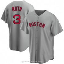 Mens Babe Ruth Babe Ruth Boston Red Sox #3 Replica Gray Road A592 Jersey