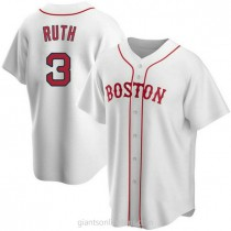 Mens Babe Ruth Babe Ruth Boston Red Sox #3 Replica White Alternate A592 Jersey