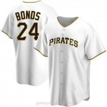 Mens Barry Bonds Pittsburgh Pirates #24 Replica White Home A592 Jersey
