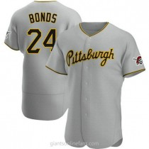 Mens Barry Bonds Pittsburgh Pirates Authentic Gray Road A592 Jersey