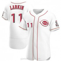 Mens Barry Larkin Cincinnati Reds #11 Authentic White Home A592 Jersey