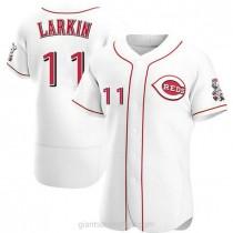 Mens Barry Larkin Cincinnati Reds Authentic White Home A592 Jersey