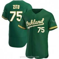 Mens Barry Zito Oakland Athletics #75 Authentic Green Kelly Alternate A592 Jerseys