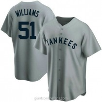 Mens Bernie Williams Nw York Yankees #51 Replica Gray Road Cooperstown Collection A592 Jersey