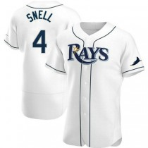 Mens Blake Snell Tampa Bay Rays #4 Authentic White Home A592 Jersey